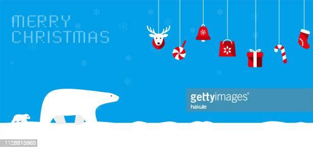 illustrations, cliparts, dessins animés et icônes de joyeux noël, ours polaire marchant avec son bébé - ours polaire