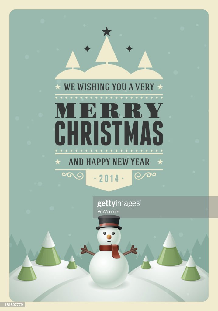 Merry Christmas postcard with snowman and trees