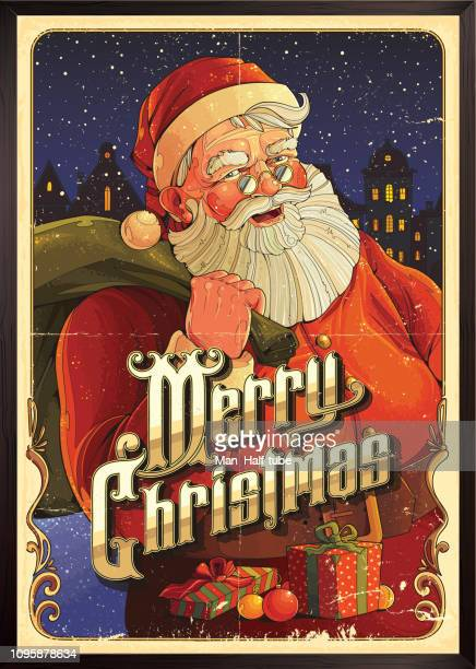 Merry Christmas poster with Santa Claus