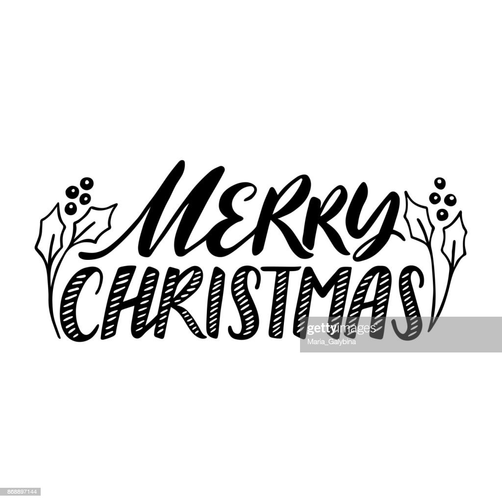 Merry Christmas Quote Vector Text For Design Greeting Cards Photo ...