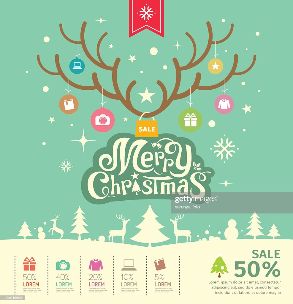 Merry Christmas reindeer sale concept on green background