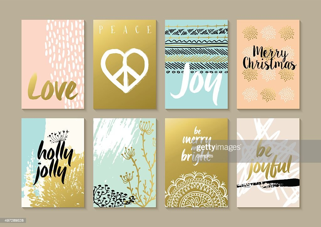 Merry christmas retro hipster boho hippie card set