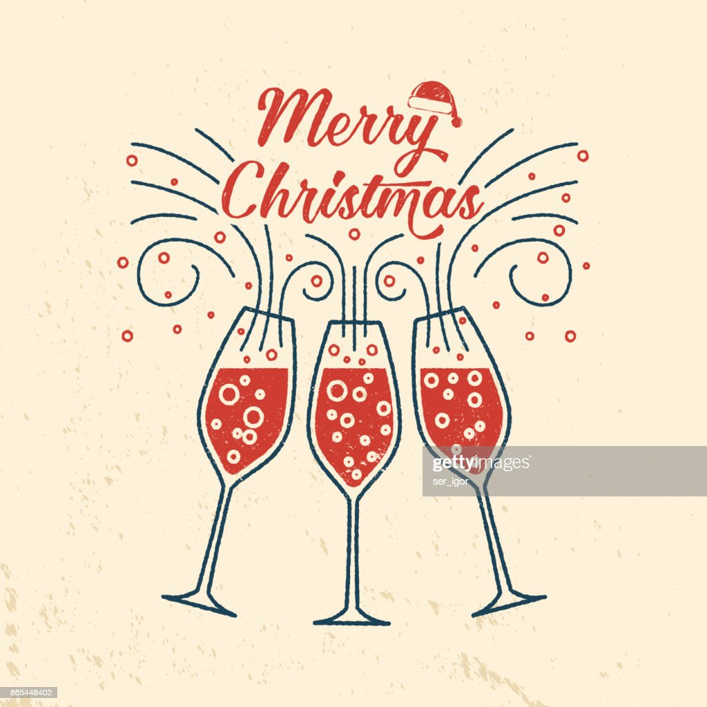 Merry Christmas retro template with Champagne glasses