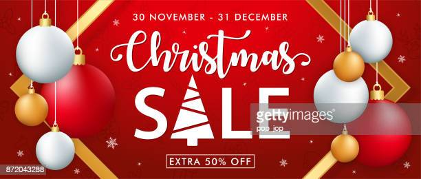 Merry Christmas Sale Banner with Balls and Icons Pattern. Vector illustration. Flyer, Invitation, Poster, Background
