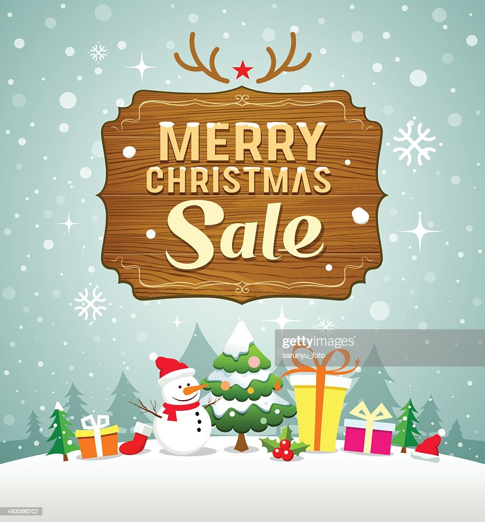 Merry Christmas sale concept with wood board on snow