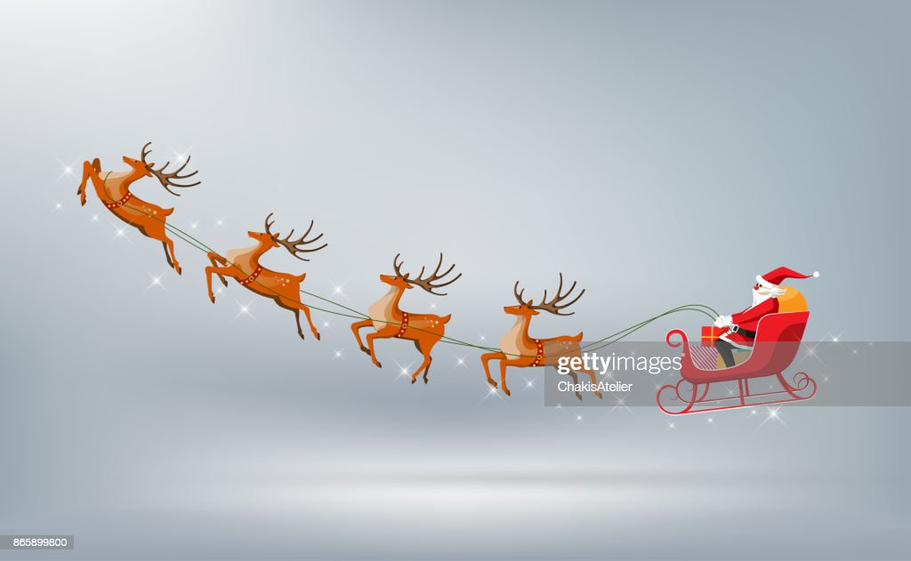 Merry Christmas, Santa Claus drives sleigh reindeer isolated, vector illustration