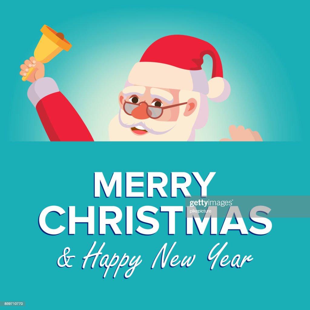 Frohe Weihnachten Santa Claus Greeting Card Vektor Poster ...