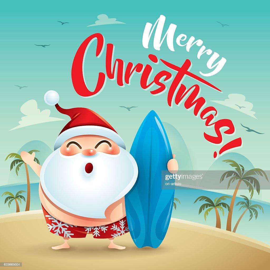 Merry Christmas Santa Claus On The Beach Holiday Vektorgrafik ...