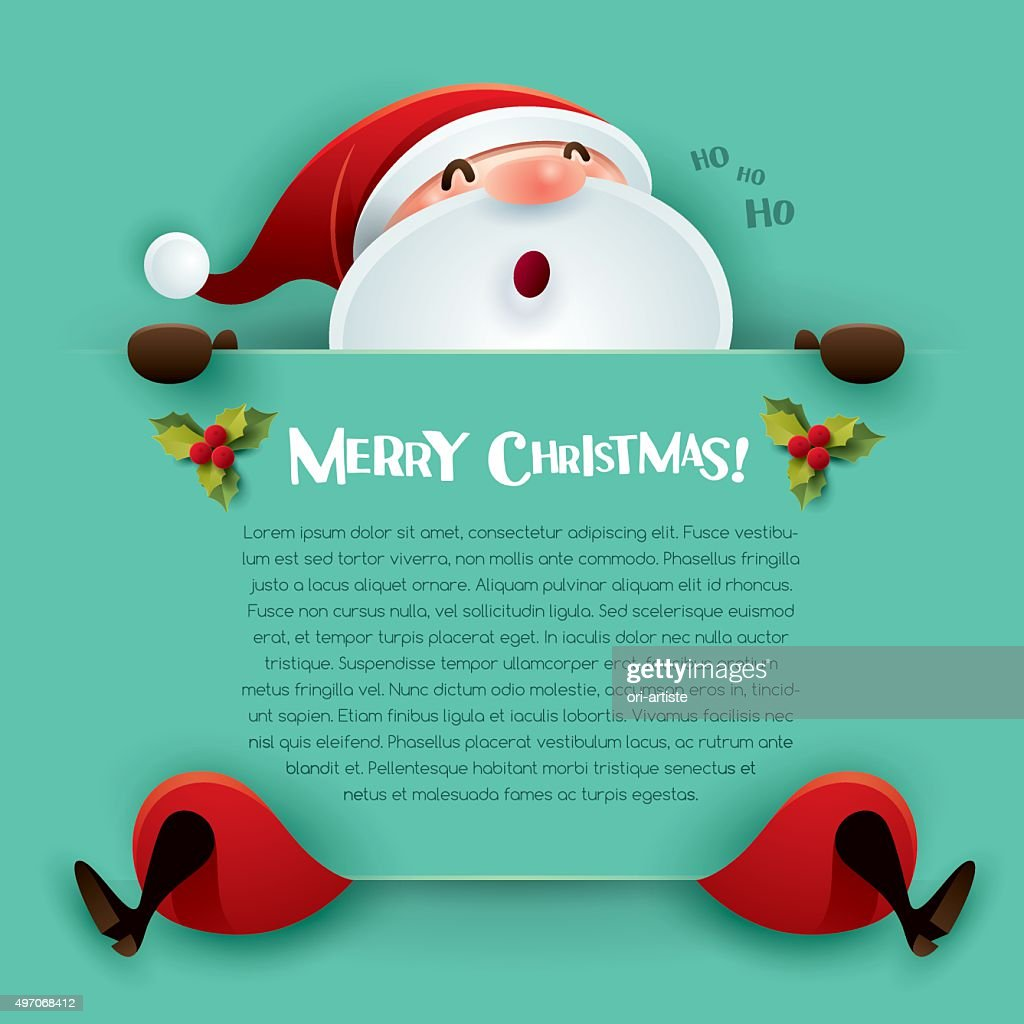 Merry Christmas! Santa Claus with big sign