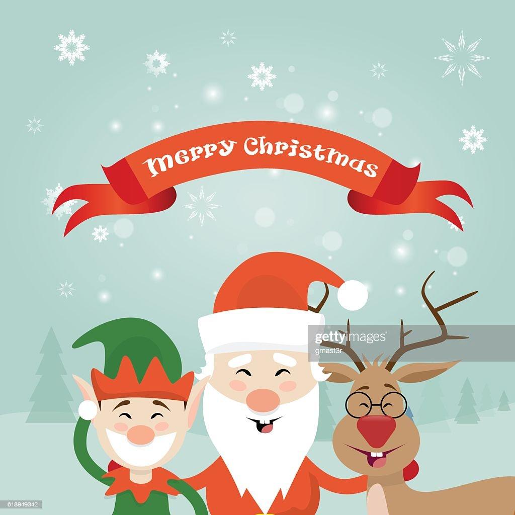 merry christmas santa clause reindeer elf character poster greeting card vector art - Merry Christmas Elf