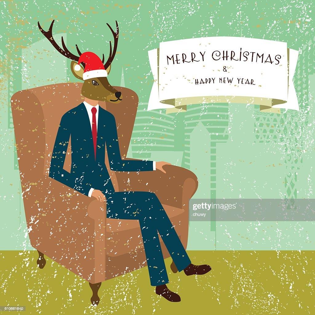 Merry Christmas Santa Klaus Deer Banner Businessman Text Vintage Vector Art