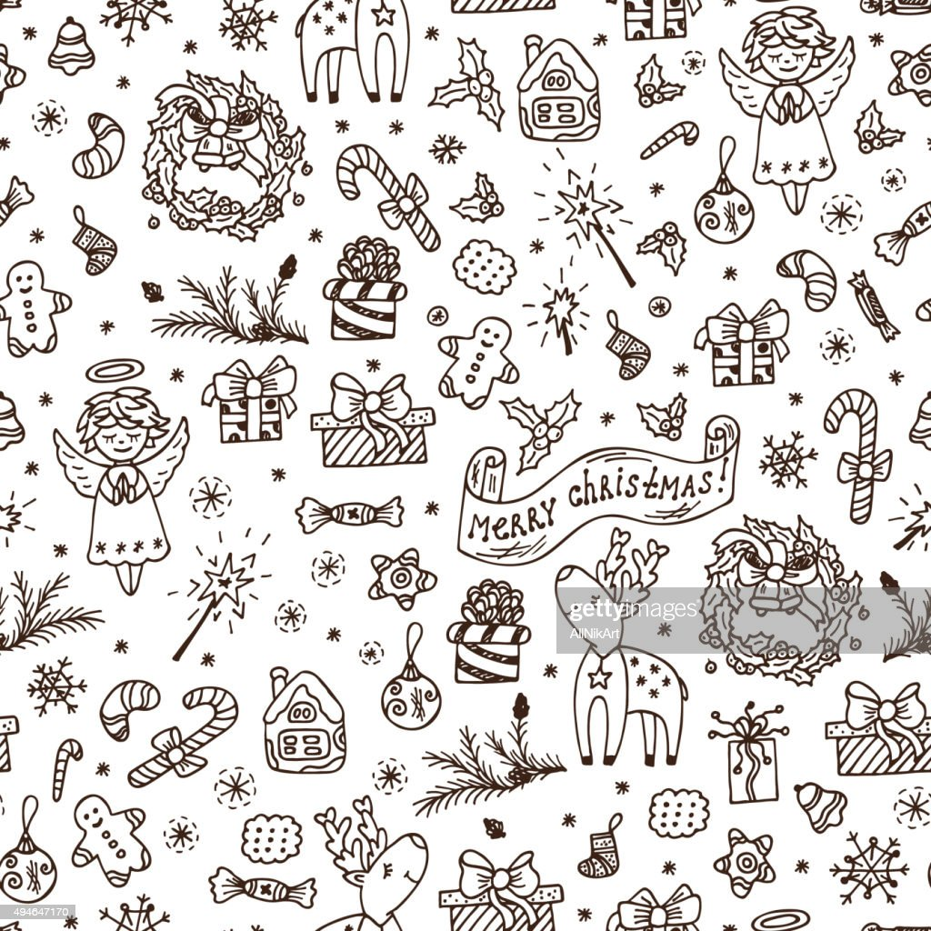 Merry Christmas seamless pattern. Holiday background. Hand Drawn Doodles illustration.