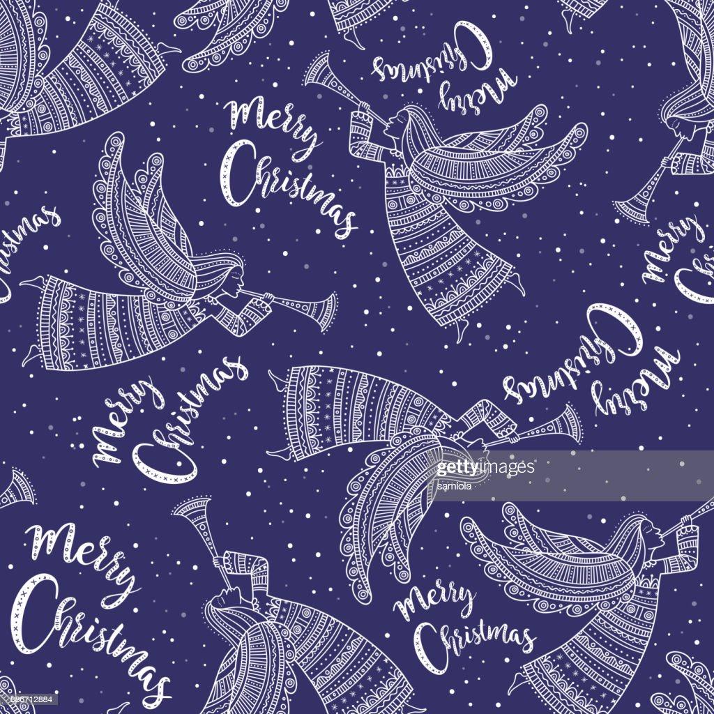 Frohe Weihnachten Ukrainisch.Frohe Weihnachten Musterdesign Mit Engel Blaue Farbe Stock