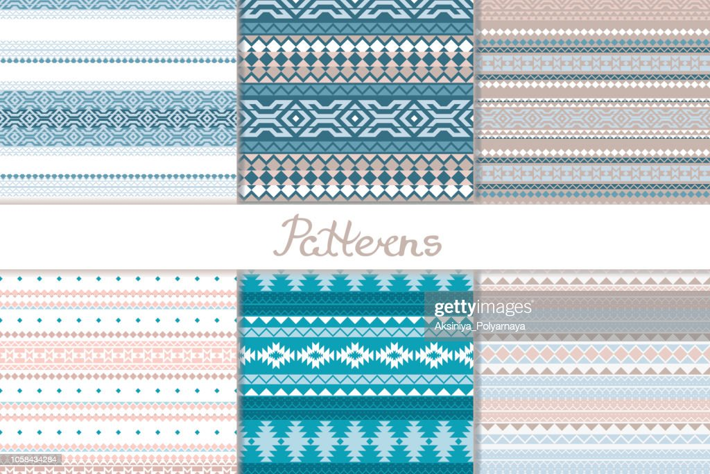 Merry Christmas. Set seamless pattern with a winter theme in ethno style. Geometric shapes, triangle, square, rhombus. Tribal motifs Scandinavian, Indian. Background, paper, texture for surfaces. Vector illustration.