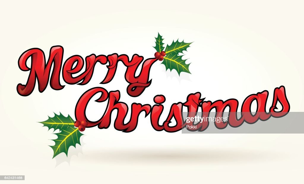 merry christmas sign with holly vector art