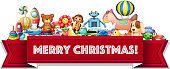 Merry Christmas sign with many toys