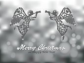 Merry Christmas silver background with angels