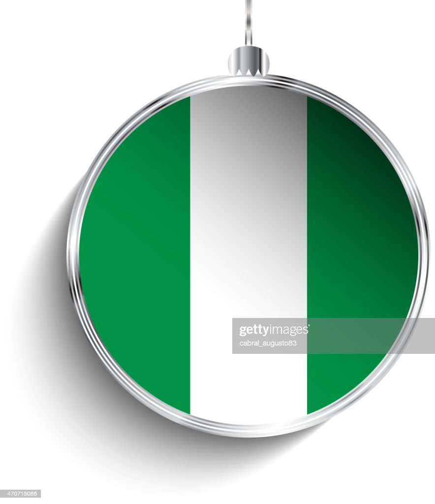 Merry Christmas Silver Ball with Flag Nigeria