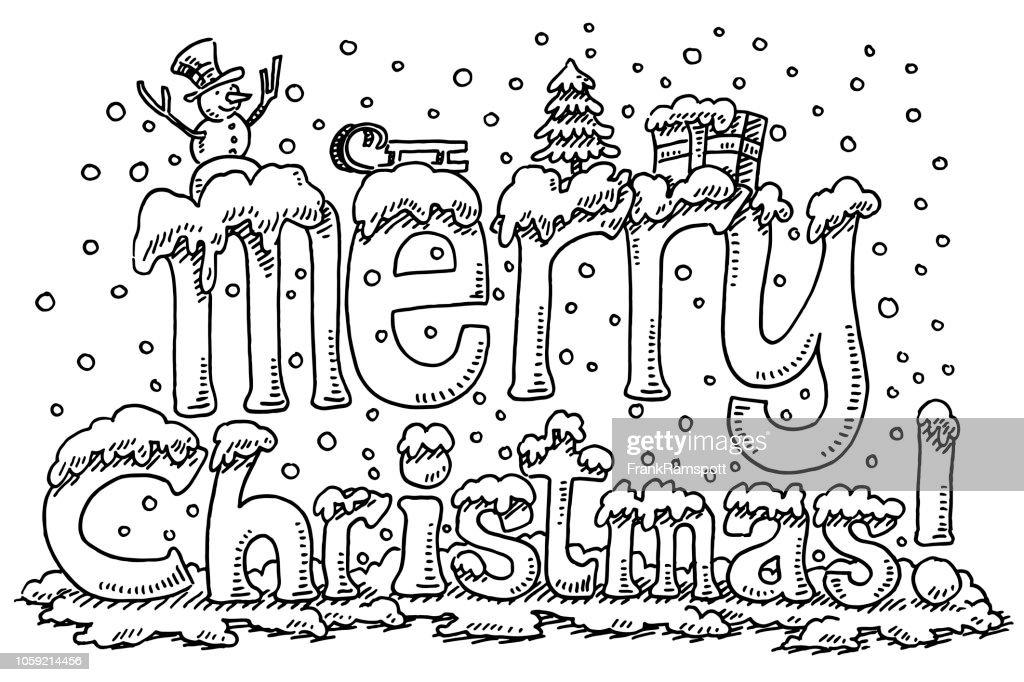 Frohe Weihnachten Symbole Text Schnee Zeichnung : Vektorgrafik