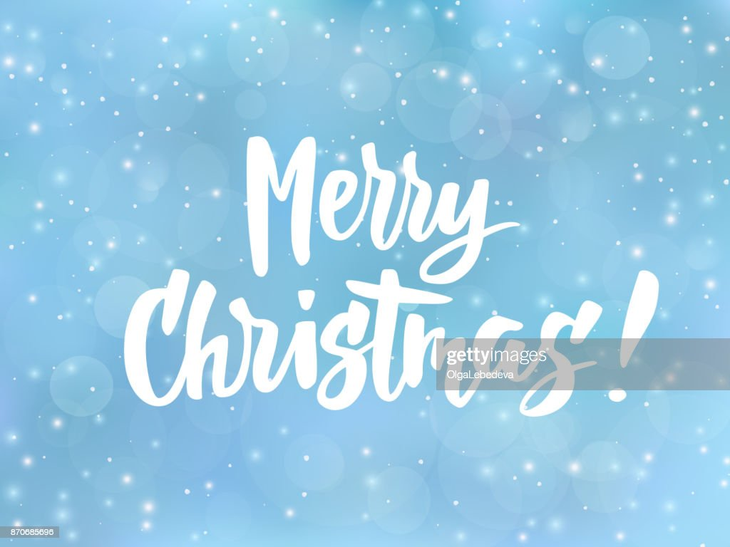 Merry christmas text holiday greetings quote blue blurred background merry christmas text holiday greetings quote blue blurred background with falling snow effect m4hsunfo