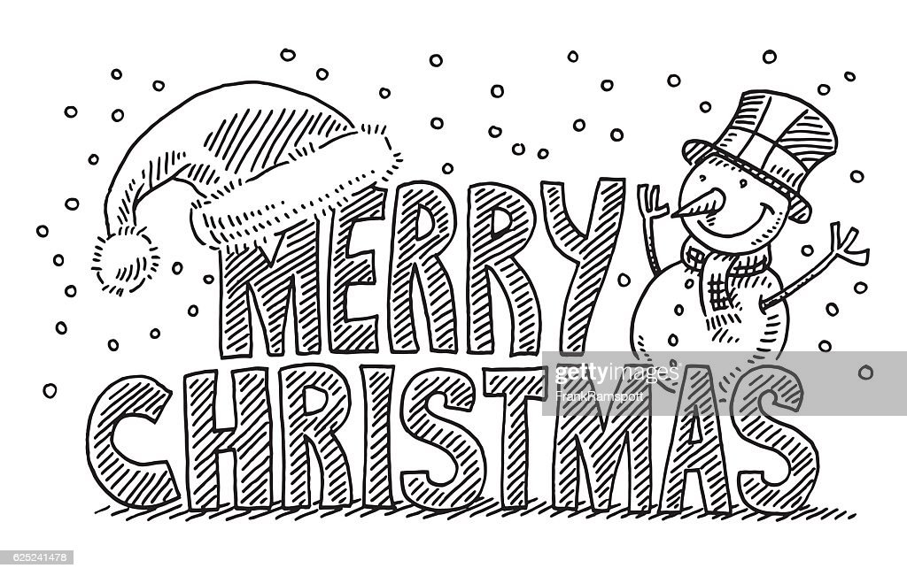 Merry Christmas Text Santa Hat Snowman Drawing Vector Art | Getty Images