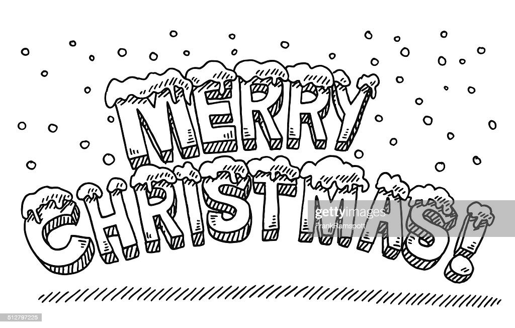 Merry Christmas Text Snowing Drawing Vector Art
