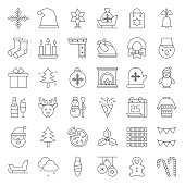 Merry Christmas theme set such as snowman, Santa Claus, outline editable stroke pixel perfect icon