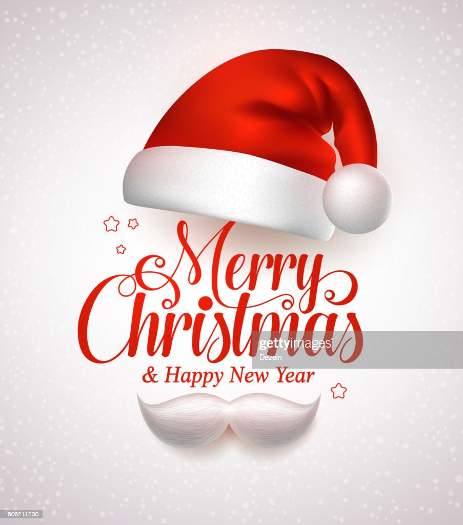 Merry christmas title typography vector concept in red with hat