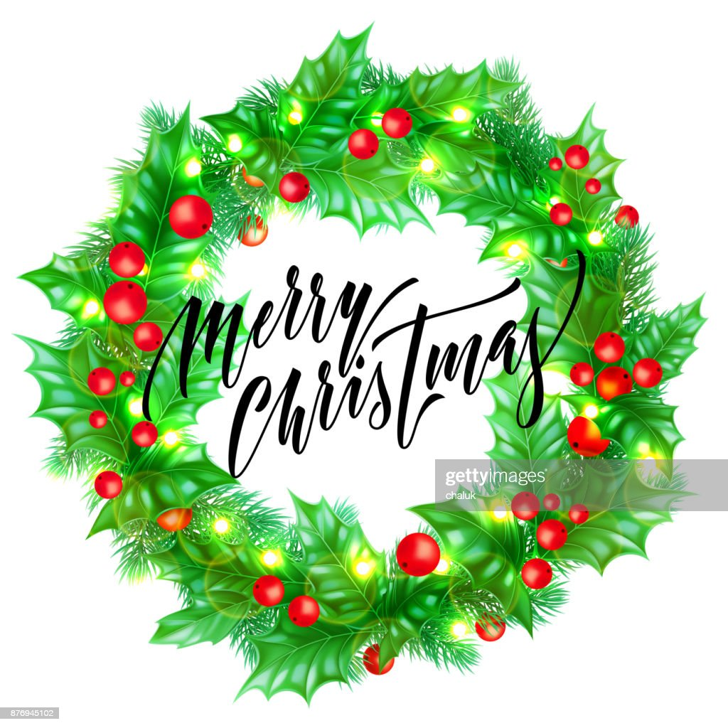 Merry Christmas Trendy Quote Calligraphy On White Premium Background