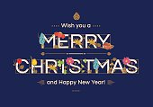 Merry Christmas typographic design in Art Nouveau style