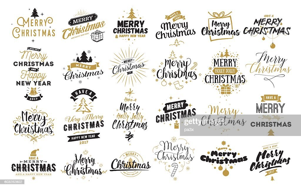 Merry Christmas typographic emblems set.