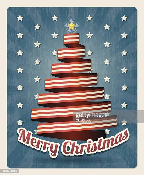merry christmas usa - patriotic christmas stock illustrations