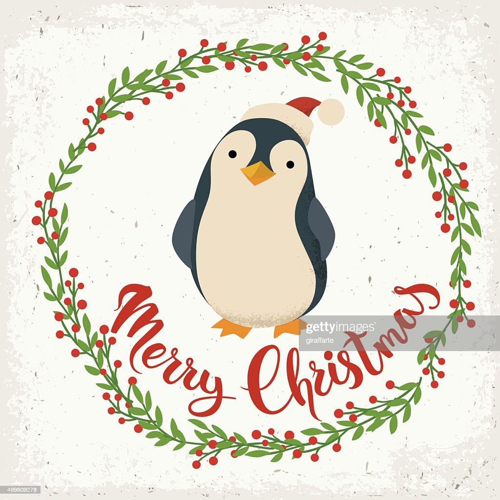 Merry Christmas vector card.
