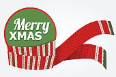 merry christmas vector card with red scarf