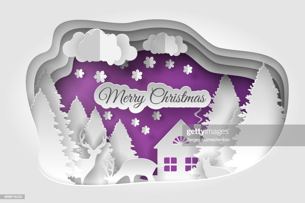 Merry christmas vector design. Happy new year and Merry christmas, paper art and craft style.