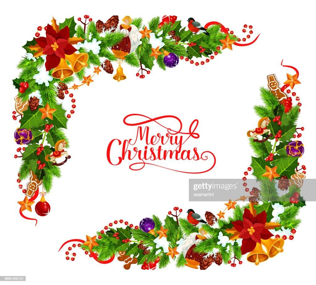 Frohe Weihnachten Rahmen.Frohe Weihnachten Vektor Rahmen Dekoration Vektorgrafik