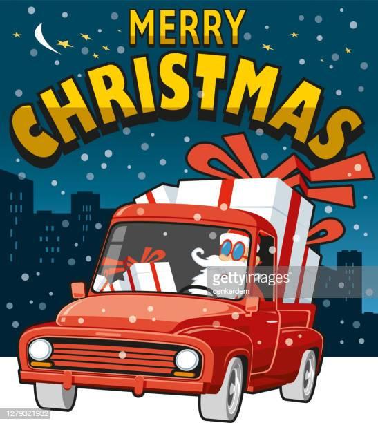merry christmas - classic car christmas stock illustrations