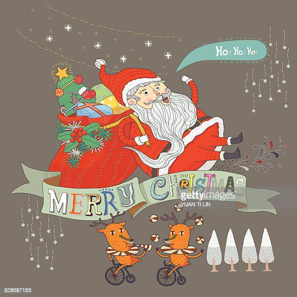 merry christmas - goodie bag stock illustrations, clip art, cartoons, & icons