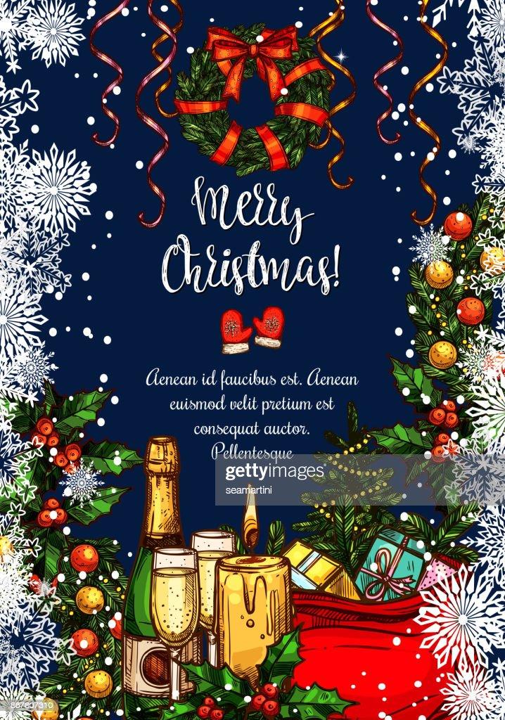 Frohe Weihnachten Vektor Skizze Grußkarte Vektorgrafik | Getty Images