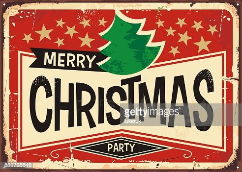 Merry Christmas Vintage Sign Stock Illustration Getty Images