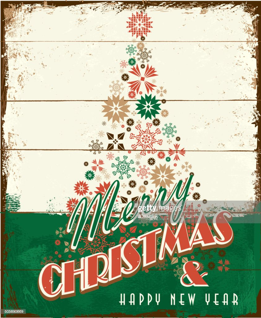 foto de Merry Christmas Vintage Wooden Painted Sign Design With Holiday ...