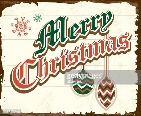 Merry Christmas Vintage Wooden Painted Sign Design With Retro Ornaments Vector Art