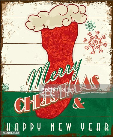 Merry Christmas Vintage Wooden Painted Sign Design With Stocking