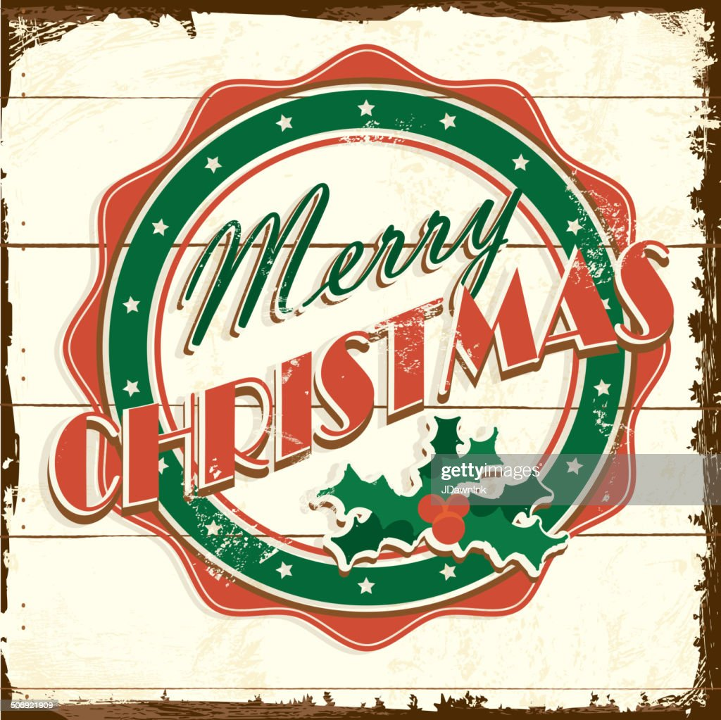 merry christmas vintage wooden painted sign greeting design with message vector art