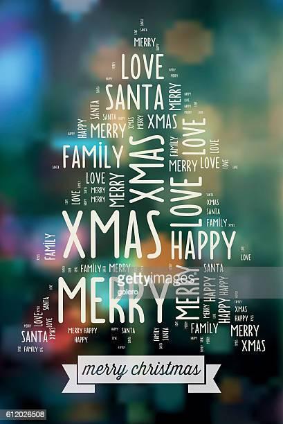 merry christmas wishing words on blurred christmas lights
