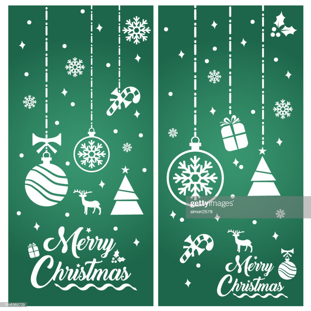 Merry Christmas With Decorations And Greetings Banner Vector Art