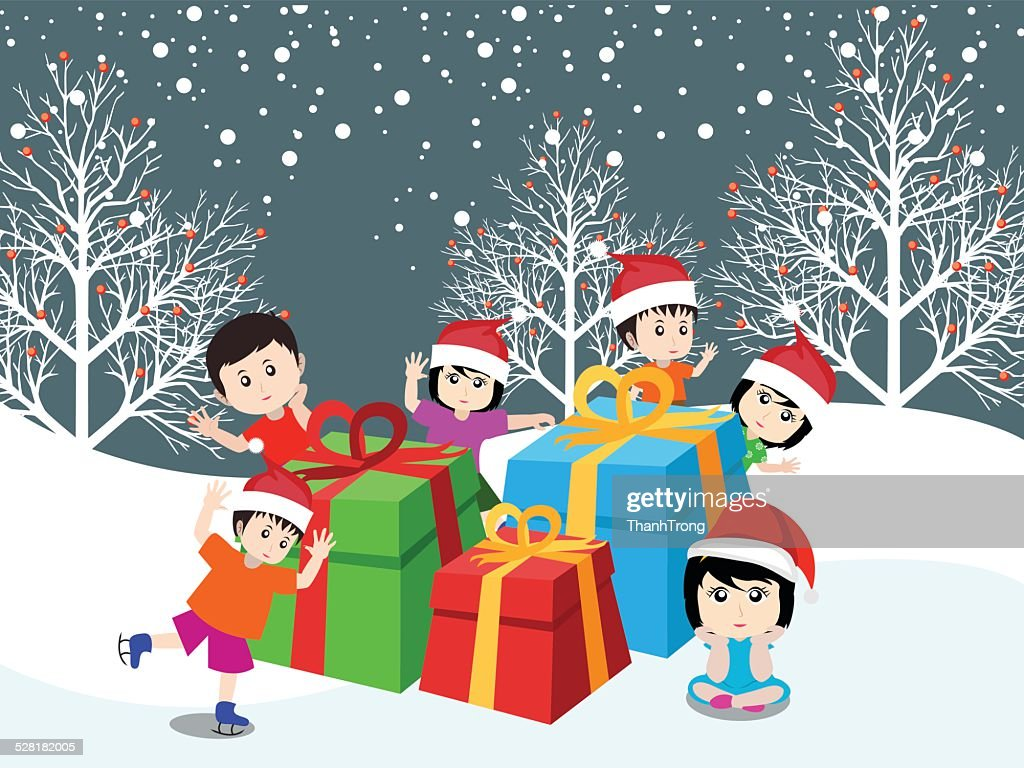 Merry christmas with happy children