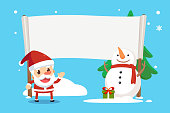 Merry Christmas with Santa and friends. Santa and snowman showing a placard.