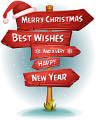 Merry Christmas Wood Road Signs Arrows