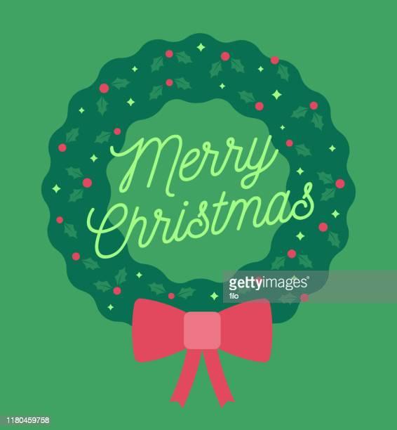 merry christmas wreath - wreath stock illustrations